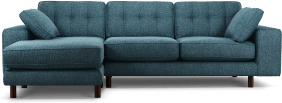 An Image of Content by Terence Conran Tobias, Left Hand facing Chaise End Sofa, Textured Weave Aegean Blue, Dark Wood Leg