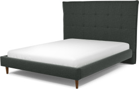 An Image of Lamas King Size Bed, Etna Grey Wool with Walnut Stained Oak Legs