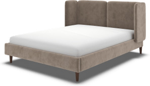 An Image of Ricola Super King Size Bed, Mole Grey Velvet with Walnut Stained Oak Legs