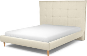 An Image of Lamas King Size Bed, Putty Cotton with Oak Legs