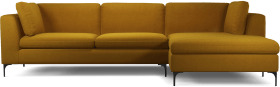 An Image of Monterosso Right Hand Facing Chaise End Sofa, Vintage Mustard Velvet with Black Leg