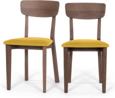 An Image of Jenson Set of 2 Dining Chairs, Yellow & Dark Stain Oak