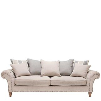 An Image of Craven Extra Large Sofa With Studs - Barker & Stonehouse