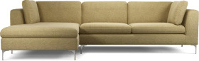 An Image of Monterosso Left Hand Facing Chaise End Sofa, Textured Yellow Mustard with Chrome Leg
