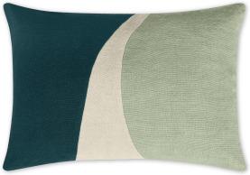 An Image of Favreau Linen Blend Cushion, 35x50cm, Teal and Grey