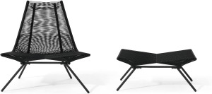 An Image of Hedy Garden Chair & Footstool Set, Black