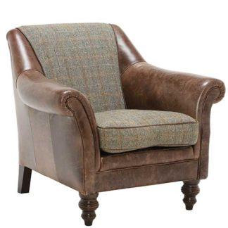 An Image of Harris Tweed Leather Dalmore Accent Chair Bracken Herringbone