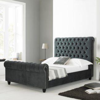 An Image of Paris Scrolled Bed Frame Dark Grey
