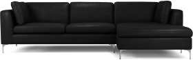 An Image of Monterosso Right Hand Facing Chaise End Sofa, Denver Black Leather with Chrome Leg