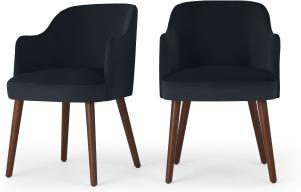 An Image of Swinton Set of 2 Carver Dining Chairs, Dusk Blue Velvet & Walnut Leg