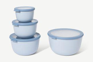 An Image of Mepal Set of 4 Deep Lidded Storage Bowls, Nordic Blue