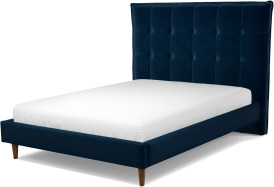 An Image of Lamas Double Bed, Regal Blue Velvet with Walnut Stained Oak Legs