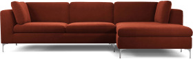 An Image of Monterosso Right Hand Facing Chaise End Sofa, Brick Red Velvet with Chrome Leg