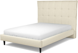 An Image of Lamas Double Bed, Putty Cotton with Black Stained Oak Legs