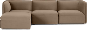 An Image of Torkel Chaise End Corner Sofa, Taupe Velvet