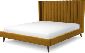 An Image of Cory Super King Size Bed, Dijon Yellow Cotton Velvet with Walnut Stained Oak Legs