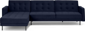 An Image of Rosslyn Left Hand Facing Chaise End Click Clack Sofa Bed, Ink Blue Velvet