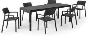 An Image of Nardi 6 Seat Extending Dining Set, Dark Grey Fibreglass, Resin & Aluminium