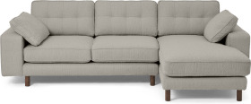 An Image of Content by Terence Conran Tobias Right Hand Facing Chaise End Sofa, Dove Grey Boucle with Dark Wood Leg