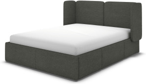 An Image of Ricola Double Bed with Storage Drawers, Granite Grey Boucle