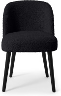 An Image of Swinton Dining Chair, Black Faux Sheepskin with Black Legs