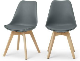 An Image of Deon Set of 2 Dining Chairs, Grey with Oak Stain Legs