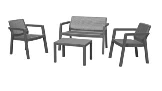 An Image of Keter Emily 4 Seater Rattan Effect Sofa Set