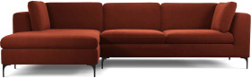 An Image of Monterosso Left Hand Facing Chaise End Sofa, Brick Red Velvet with Black Leg
