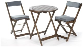 An Image of Greenhurst 2 Seater Hardwood Bistro Set with Grey Cushions