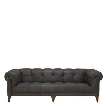 An Image of Elena Leather 3 Seater Sofa - Barker & Stonehouse