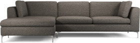 An Image of Monterosso Left Hand Facing Chaise End Sofa, Textured Coin Grey with Chrome Leg