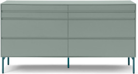 An Image of Donica Wide Chest of Drawers, Concrete Blue