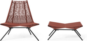 An Image of Hedy Garden Chair & Footstool Set, Woven Clay Red & Black