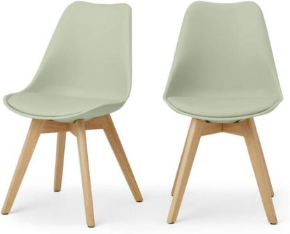 An Image of Deon Set of 2 Dining Chairs, Sage Green with Oak Stain Legs
