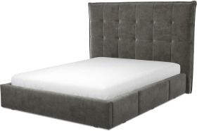 An Image of Lamas King Size Bed with Storage Drawers, Steel Grey Velvet