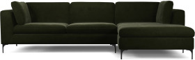 An Image of Monterosso Right Hand Facing Chaise End Sofa, Dark Olive Velvet with Black Leg