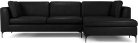 An Image of Monterosso Right Hand Facing Chaise End Sofa, Denver Black Leather with Black Leg