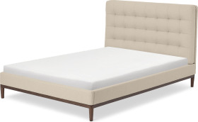 An Image of Lavelle Double Bed, Soft Barley Weave & Walnut Stain Legs