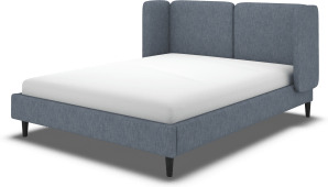 An Image of Ricola Super King Size Bed, Denim Cotton with Black Stained Oak Legs