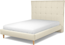 An Image of Lamas Double Bed, Putty Cotton with Oak Legs