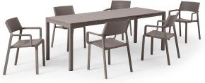 An Image of Nardi 6 Seat Extending Dining Set, Light Grey Fibreglass, Resin & Aluminium