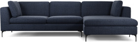 An Image of Monterosso Right Hand Facing Chaise End Sofa, Textured Mist Blue with Black Leg