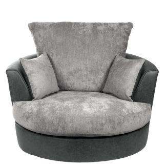 An Image of Blake Fabric Combo Swivel Chair Grey