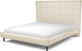 An Image of Lamas Super King Size Bed, Putty Cotton with Walnut Stained Oak Legs
