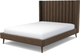 An Image of Cory King Size Bed, Mushroom Taupe Cotton Velvet with Walnut Stained Oak Legs