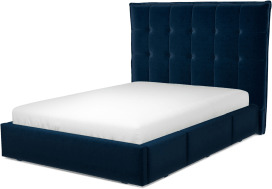 An Image of Lamas Double Bed with Storage Drawers, Regal Blue Velvet