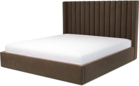 An Image of Cory Super King Size Ottoman Storage Bed, Mushroom Taupe Cotton Velvet