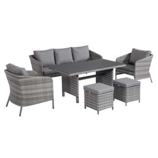 An Image of Levisham Garden Sofa Dining Set in Grey Weave and Grey Fabric