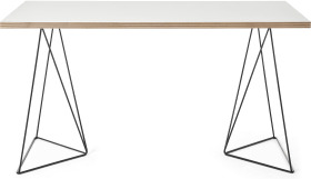 An Image of Solly Wide Desk, White Plywood & Black Steel