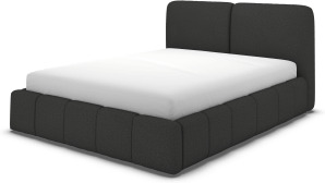 An Image of Maxmo King Size Bed with Storage Drawers, Etna Grey Wool